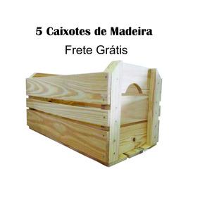 5 Caixotes De Feira Madeira P (novo) *frete Grátis* 40x25x25