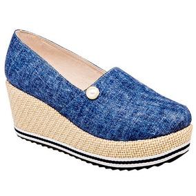 Zapato Plataforma, Dama, Tejido, Azul Pak Casual U71975