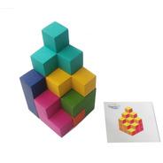 Cubo Soma De Madera Rompecabezas 3d C/tarjetas De Reto /base