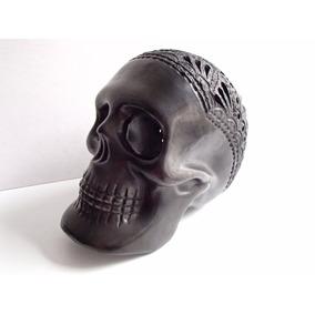 Fabuloso Cráneo De Barro Negro De Oaxaca Mediano.