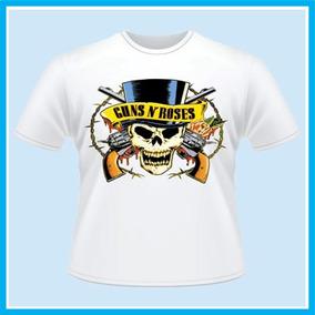Camiseta Infantil Branca Guns N Roses Caveira, Banda, Rock