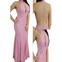 Vestido Longo Renda Costas Nuas Rosa Chá Nude Rosé Vrl93