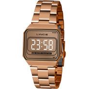 Relógio Lince Feminino Rose Quadrado Led Espelhado Mdr4644l