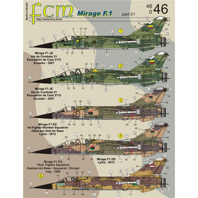 Decal Mirage F.1 Fcm 1/48 Decalque Iraque, Libia, Iran, Etc