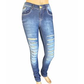 Calça Jeans Fem Rasgada Desfiada Cós Alto Lycra Cintura Alta