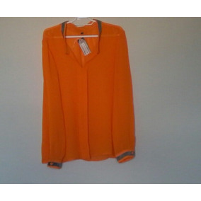 Blusa Feminina De Seda Com Paetês Transparente Laranja 44