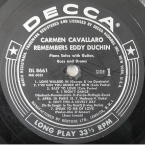 Lp Carmen Cavallaro Remembers Eddy Duchin Importado