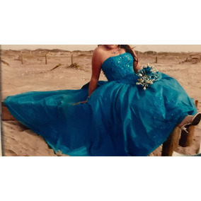 Vestido Xv Años Hermoso Azul Turquesa