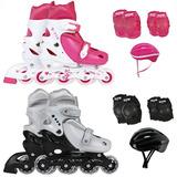 Kit Patins Roller Infantil E Proteção C/ Capacete E Mochila