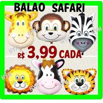 Balão Metalizado Safari Animais Centro De Mesa 32x24cm