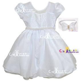 Vestido De Festa Infantil Dama De Honra Batizado Com Tiara