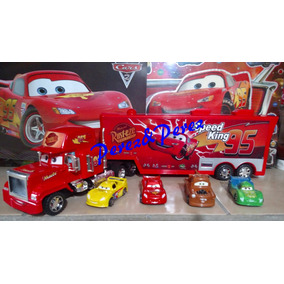 Cars Mack Rayo Trailer Giganteeeee 58 Cms + 4 Carritos