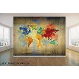 Vinilo Decorativo Mural Mapamundi Mapas Mundo Lienzo Cuerina