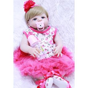 Boneca Reborn Corpo Silicone Loirinha Olhos Azuis Bebê Rebor