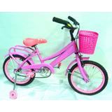 Bicicleta Rodado 14 Dama Con Canasto Y Guardabarros
