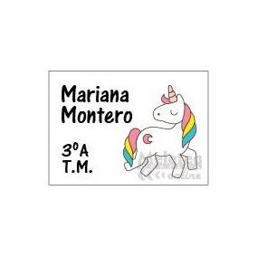Sticker Etiqueta Escolar Utiles Lapices Cuadernos Unicornio