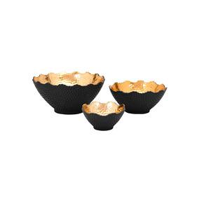 Nova Set De 3 Bowls De Hierro - Negro Y Dorado