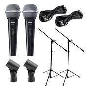 Combo 2 Microfonos Shure + 2 Soportes + Accesorios