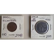 Pack 2 Monedas Fao Brasil Italia 1978-79 Acero Unc