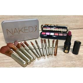 Lindo Kit Com Pincéis Naked,paleta De Sombras E Batom Eudora