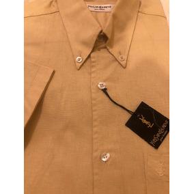 Camisa Yves Saint Laurent Talle M Lino Beige Manga Corta