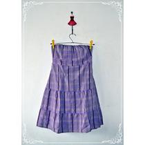 Vestido Strapless Corto - Falda Con Volados Y Pecho Plisado