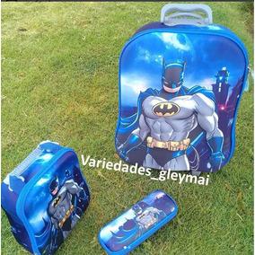 Combo Maleta Lonchera Cartuchera Escolar Importada Batman
