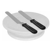 Plato Base Giratorio Base Pie Con 2 Espatulas Alisador Escalon Y Recta 28cm Plastico Torta Reposteria Decoracion Cocina