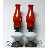 Par De Veladores Lamparas Quinqué Antiguos Bronce Porcelana