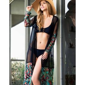 Kimono Transparente Bordado Bata Ideal Para Playa