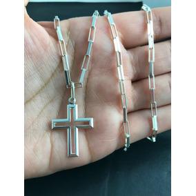 Corrente Cordão Prata Maciça 925 C/ Pingente Crucifixo 60cm