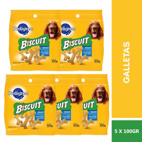 5 Bolsas Pedigree Galletas Biscuit Premio Perro Adulto 100g