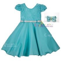 Vestido Infantil Pequena Sereia Azul Tiffany 1 A 5 Com Tiara