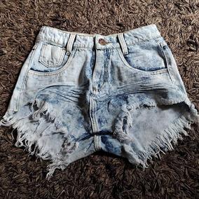 Shorts Jeans Branco Manchado Feminino Cintura Alta St013
