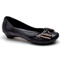 Sapato Social Feminino Mocassim Costurado Salto Baixo Couro