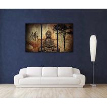Buda Triptico En Tela Canvas Bastidor 120x80 Cm Envio S/c