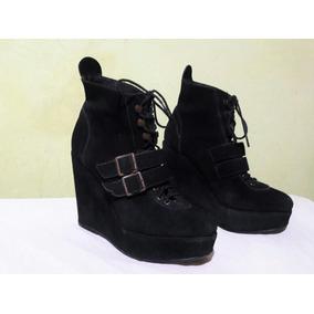 Zapatos Gamuza T 36 37 Altos Con Cordones