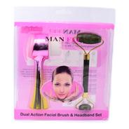 Kit Dual De Rodillo De Jade Con Masajeador Facial Rosa Con A