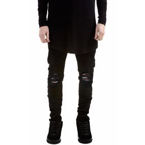 Calça Masculina Jeans Sarja Skinny Preta Rasgada Variascores