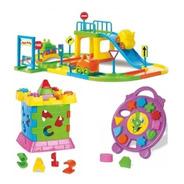 Kit Brinquedo Educativo Infantil Pista Carro Castelo Relógio