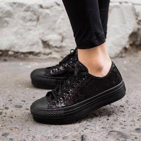 zapatillas converse negras con lentejuelas