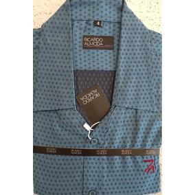 Camisa Social Ricardo Almeida Azul Estampada