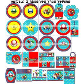 70un Toper Tag Adesivo Personalizado Temas Niver Mario Bross