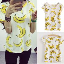 Tsuki Moda Asiatica: Blusa Playera Estampado Bananas Casual