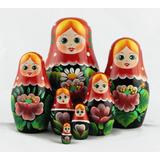 Las Muñecas Rusas Matrioska De Madera Con Flores Set De 7pc
