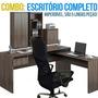 Conjunto Escritório Mesa, Cadeira, Armário, Estante E Balcão