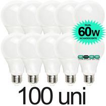 Kit 100 Lampada Bulbo Led 7w A60 Econômica Bivolt 3u 4u E27