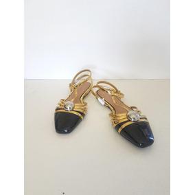 Zara Nuevos Zapatos Chatitos Dorados S/talon Importados