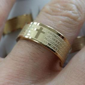 1 Anel Aliança Aço Inox 8mm Oração Pai Nosso Banhado A Ouro