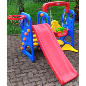 Playground Infantil 3 Em 1 Balanco Escorregador E Cesta